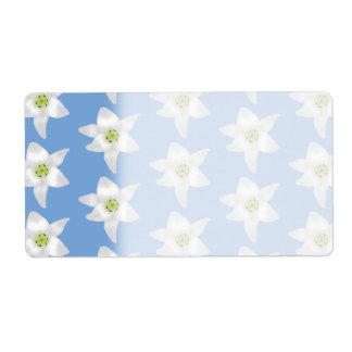 Elegant Floral Pattern. White Lilies on Blue.