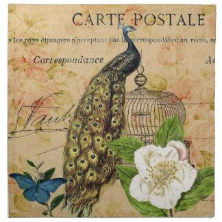 elegant floral peacock birdcage vintage paris napkins