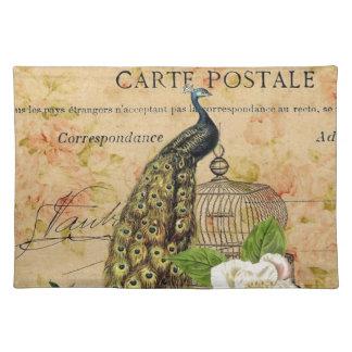 elegant floral peacock birdcage vintage paris placemat