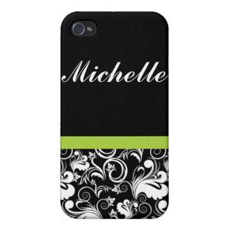 Elegant Floral Pern Damask Black Green Name Cases For iPhone 4