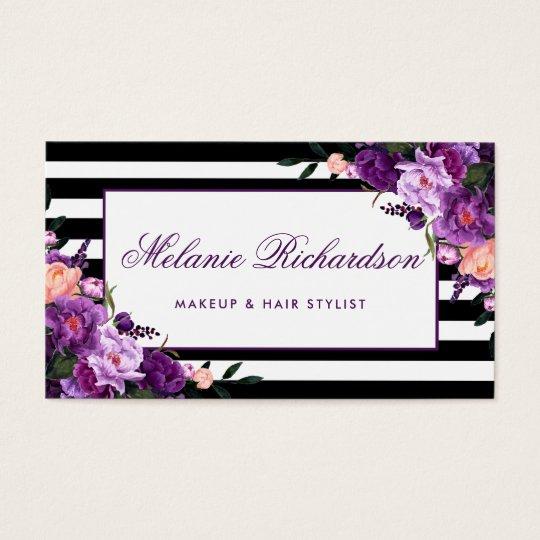 Elegant Floral Purple Ultra Violet Striped Business Card