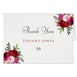 Elegant Floral Red Rose Sweet 16 Thank You Card
