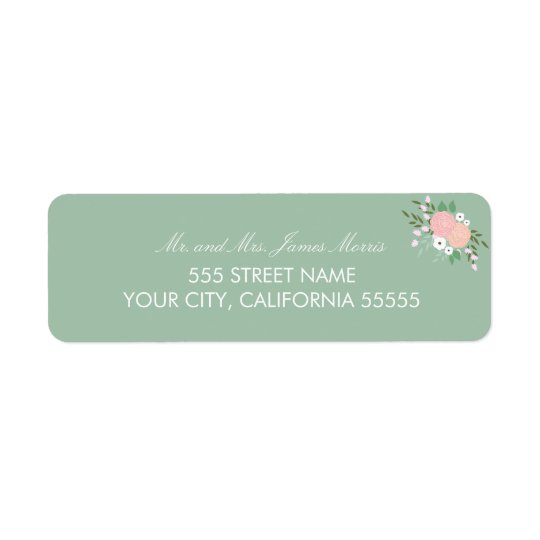 Elegant Floral Return Address Label - Mint