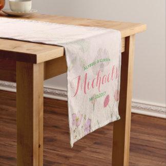 Elegant Floral Romantic Pink Wedding Reception Short Table Runner