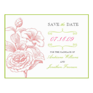 Elegant Floral Save the Date Postcard