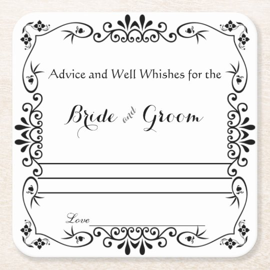 Elegant Floral Scroll, Advice and Well Wishes Square
