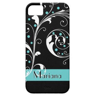 Elegant floral scroll leaf black, aqua flourish case for the iPhone 5