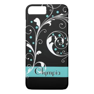 Elegant floral scroll leaf black, aqua flourish iPhone 7 plus case