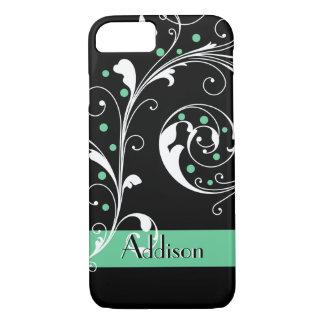 Elegant floral scroll leaf black mint green iPhone 7 case