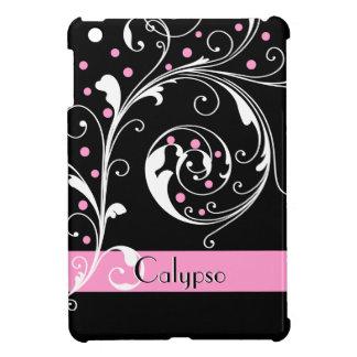 Elegant floral scroll leaf black, pink flourish iPad mini cover