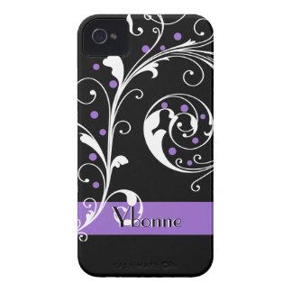Elegant floral scroll leaf black purple flourish iPhone 4 cases