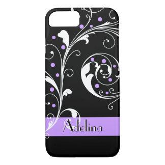 Elegant floral scroll leaf black purple flourish iPhone 7 case