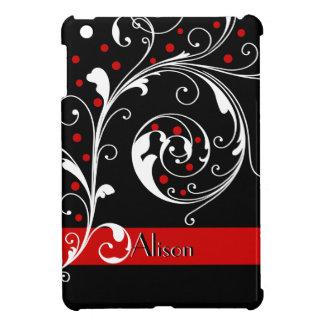 Elegant floral scroll leaf black, red flourish case for the iPad mini