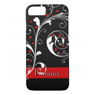 Elegant floral scroll leaf black red flourish iPhone 7 case