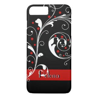 Elegant floral scroll leaf black, red flourish iPhone 7 plus case