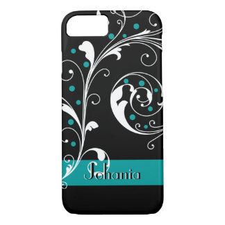 Elegant floral scroll leaf black teal flourish iPhone 7 case