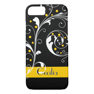 Elegant floral scroll leaf black, yellow flourish iPhone 7 case