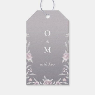 Elegant floral silver Chinoiserie wedding monogram Gift Tags
