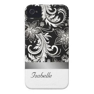 Elegant floral silvery black vintage monogram Case-Mate iPhone 4 case