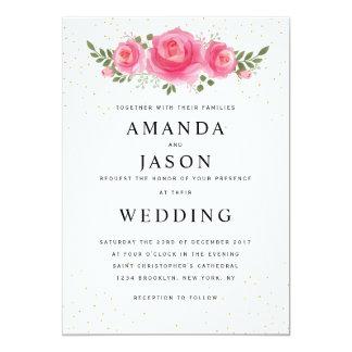 Elegant floral simple modern wedding invitation