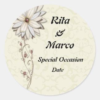 Elegant Floral Special Occasion Design Round Sticker