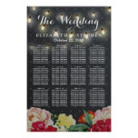 Elegant Floral String Lights Wedding Seating Chart