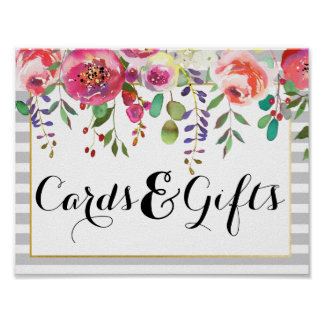 Elegant Floral & Stripes Cards & Gifts Sign Poster