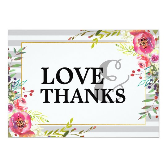 Elegant Floral & Stripes Thank You Card