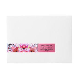 Elegant floral stylish pink girly pattern wraparound address label