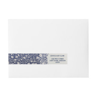 Elegant floral stylish rustic blue pattern wraparound address label