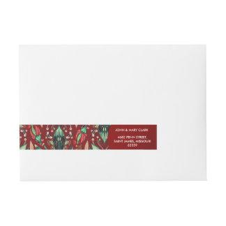 Elegant floral stylish rustic red pattern wraparound address label