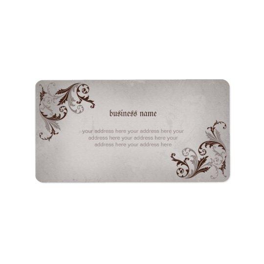 Elegant Floral Swirls on Vintage Grunge #1 Address Label