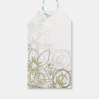 Elegant Floral Swirls White background Gift Tag
