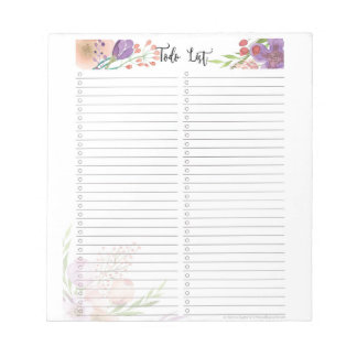 Elegant floral to do checklist notepad Template