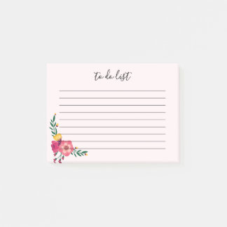 Elegant Floral To Do List Post-It Note