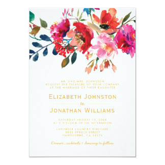 Elegant Floral Watercolor Garden Formal Wedding Card