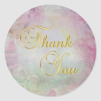 Elegant Floral Watercolor Gold Thank You Seals