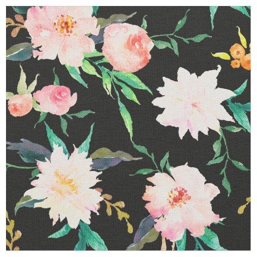 Elegant Floral Watercolor Pink Black White Fabric