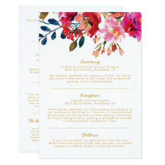 Elegant Floral Watercolor Wedding Information Card