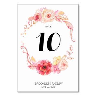 Elegant Floral Watercolor Wedding Table Numbers