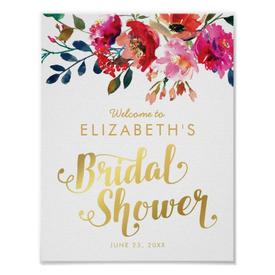 Elegant Floral Watercolor White Gold Bridal Shower Poster