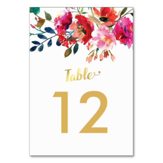 Elegant Floral Watercolor White Gold Table Numbers