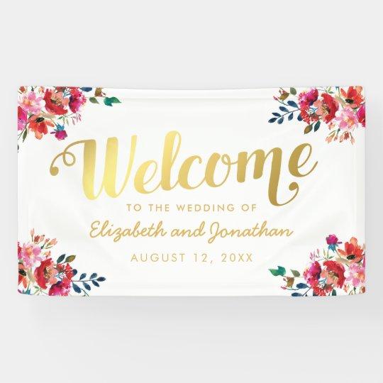 Elegant Floral Watercolor White Gold Wedding Banner