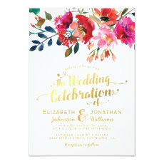 Elegant Floral Watercolor White Gold Wedding