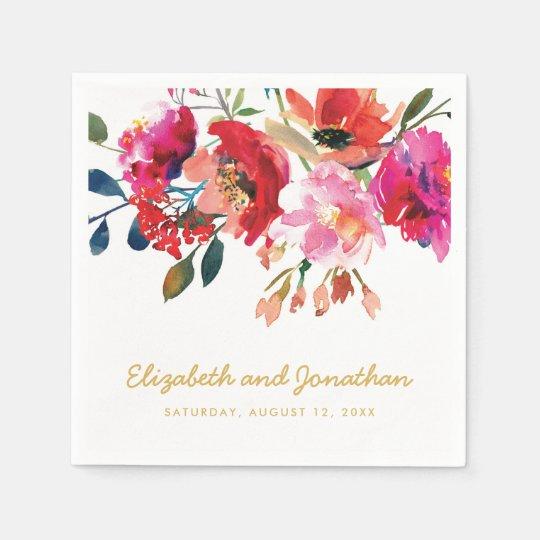 Elegant Floral Watercolor White Gold Wedding Disposable