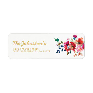 Elegant Floral Watercolor White Gold Wedding Return Address Label