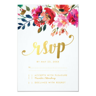 Elegant Floral Watercolor White Gold Wedding RSVP Card