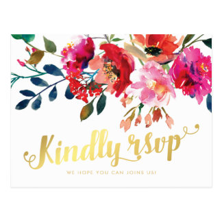 Elegant Floral Watercolor White Gold Wedding RSVP Postcard