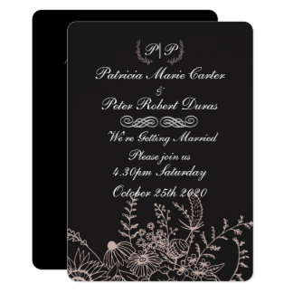 Elegant Floral Wedding Invitation(both sides) Card
