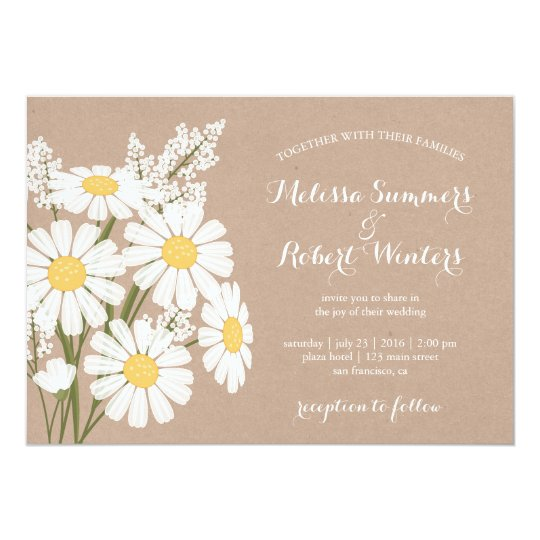 Elegant Floral White Daisies Beige Wedding Card